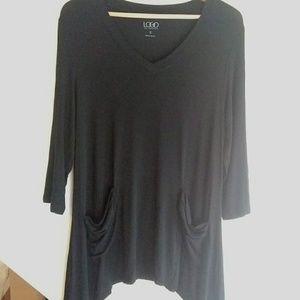 LOGO Lori Goldstein Black Tunic Top Pockets